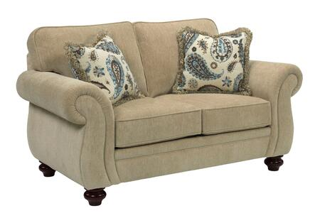 "Broyhill Cassandra 3688-1/COLOR 67"" Wide Loveseat with 2 Fringe Pillows, DuraCoil Seat Cushion and Turned Bun Feet in"