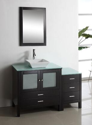 """Virtu USA Brentford 54"""" MS-4454-x-ES Single Sink Bathroom Vanity in Espresso Finish with x Countertop, Matching Framed Mirror, 2 Doors, 5 Doweled Drawers and Brushed Nickel Hardware"""