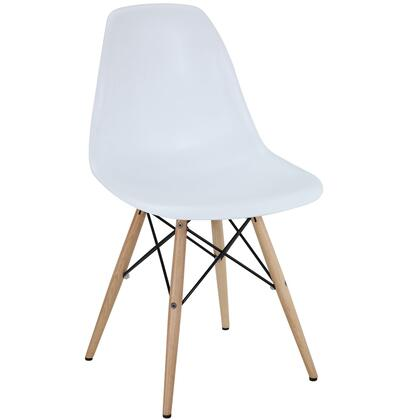 Modway EEI180WHI Pyramid Series Modern Not Upholstered Wood Frame Dining Room Chair