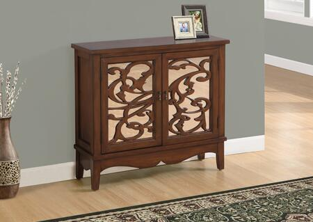 """Monarch I 3840 32"""" Accent Chest with Hidden Shelf, Vine Overlay and Mirrored Backing in Brown"""