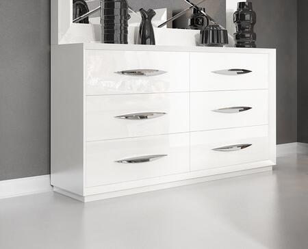 "ESF Carmen Collection I11322I11609 63"" Double Dresser with 6 Drawers, Self-Closing Mechanism, Silver Metal Hardware and Wood Construction"