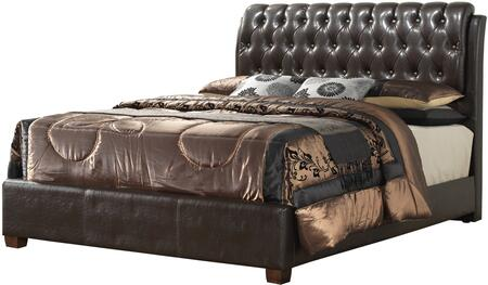 Glory Furniture Panel Bed with Button Tufted Headboard, High Grade Polyurethane Cover and Wood Veneer Construction in Cherry Finish
