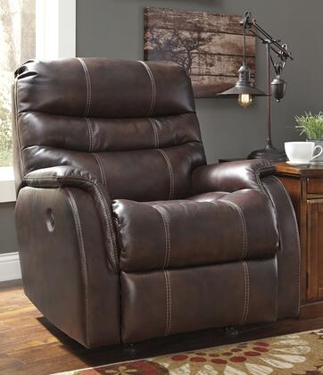 "Signature Design by Ashley 3930 Bridger 36"" Power Rocker Recliner with Triple-Tier Back, Jumbo Stitching, Wrapped Padded Arms and Leather Match Upholstery in Color"