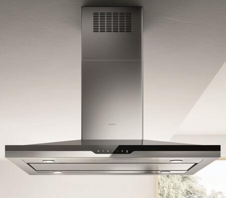 Elica ESI6xxSS Stoney Chimney Style Island Mount Hood with HeatGuard Sensor, 600 CFM Blower, CFM Reduction System, STREAM Automatic Function Technology, and Hush Sound Suppression, in Stainless Steel with Black Glass Panel