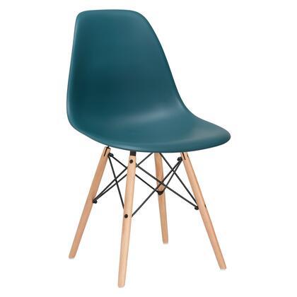 EdgeMod EM105NATTEA Vortex Series Modern Wood Frame Dining Room Chair