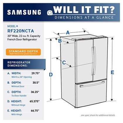 Samsung Rf220nctaww 30 Inch White French Door Refrigerator With 218