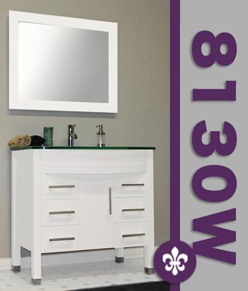 """Cambridge 8130WX 35"""" White Wood & Glass Basin Sink Vanity Set with Faucets"""
