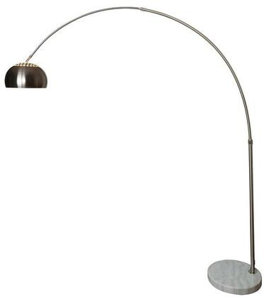 "EdgeMod Hampton Collection 83.5"" Arc Floor Lamp with Black Wire, Solid Marble Base, Adjustable Stem, Iron and Stainless Steel Construction in"