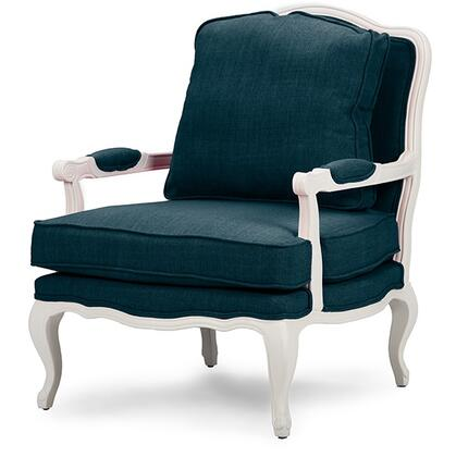 Wholesale Interiors Baxton Studio 52348 Antoinette French Accent Chair with Polyurethane Foam Cushions, Cabriole Legs, Distressed Rubberwood Frame and Fabric Upholstery
