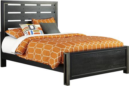 Samuel Lawrence Graphite Size Youth Panel Bed with Slat Back Headboard, Metal Framing Accent, High/Low Rail Locking Positions, Ash Veneers and Hardwood Solids in Black Color
