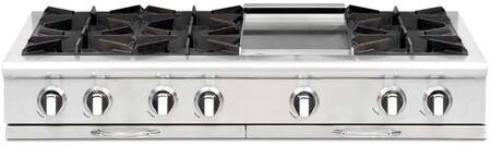 """Capital Culinarian Series CGRT484G2-X 48"""" Restaurant Style X Range Top with 6 Burners, a 12"""" Thermo-Griddle with Cover, EZ-Glides Drip Trays, and Auto-Ignition/Re-Ignition, in Stainless Steel"""