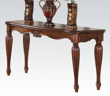 Acme Furniture 1029 Dreena Rectangular Sofa Table with Beveled Edge, Turned Fluted Legs, Carved Wooden Elements, Solid Wood and Veneers in