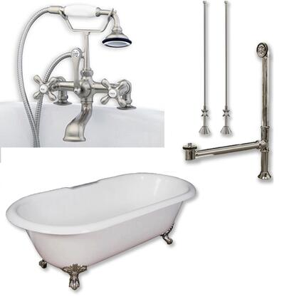 "Cambridge DE67463D2PKGXX7DH Cast Iron Double Ended Clawfoot Tub 67"" x 30"" 7"" Deck Mount Faucet Drillings and Complete Plumbing Package"