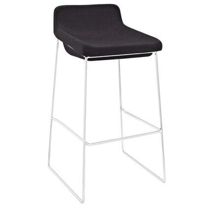 Modway EEI-1029 Garner Indoor Bar Stool with Modern Design, Chrome Plated Steel Frame, Built-In Footrest, Fully Assembled and Foam Seat Upholstered