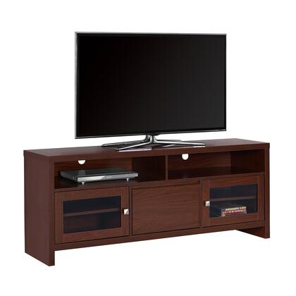 """Monarch I27060TV 60"""" TV Stand with 2 Open Storage, 2 Glass Doors with Adjustable Shelf and Storage Drawer in"""