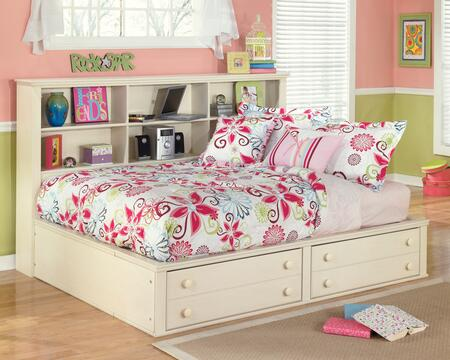 Milo Italia BR-3030585 Burton Size Bedside Storage Bed with Bun Feet, Graphic Leaf Design and Subtle Replicated Brushing in Cream