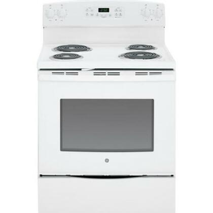 "GE JB250DFWW 30"" Electric Freestanding Range with Coil Element Cooktop, 5.3 cu. ft. Primary Oven Capacity, Storage in White"