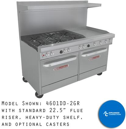 """Southbend H4361D2T Ultimate Range Series 36"""" Electrical/Gas Range with Two Standard Non-Clog Burners, One 24"""" Thermostatic Griddle, and Standard Cast Iron Grates, Up to 114000 BTUs (NG)/96000 BTUs (LP), Standard Oven Base (Hybrid)"""
