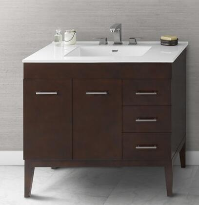 "Ronbow 037036-7L- Venus 36"" Wood Vanity Cabinet with Two Doors, One Hidden Drawer, Three Side Drawers and Wood Legs:"