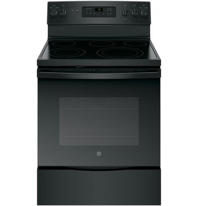 "GE JB700DJ 30"" Freestanding Electric Convection Range with 5.3 cu. ft. Capacity, 9""/6"" Power Boil Element, Hidden Bake Oven Interior and Black Gloss Oven Interior, in"