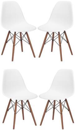 EdgeMod EM105WALWHIX4 Vortex Series Modern Wood Frame Dining Room Chair