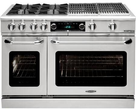 "Capital Culinarian Series COB484BB-X 48"" Freestanding Dual Fuel Electric Range with 4 Open Burners, Primary 4.6 Cu. Ft. Oven Cavity, Secondary 2.1 Cu. Ft. Oven Cavity, and Moto-Rotis, in Stainless Steel"
