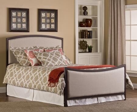 Hillsdale Furniture 1384BR Bayside Panel Bed Set with Rails Included, Beige Fabric Upholstery and Tubular Steel Construction in Bronze Finish