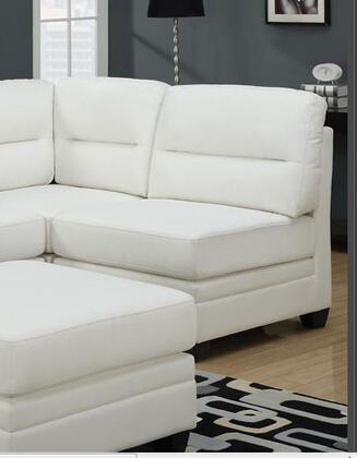 Monarch I8301WH Bonded Leather Sectional with Wood Frame in White
