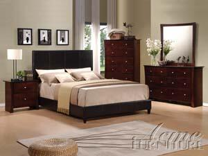 Acme Furniture 20154 Ridge Contemporary Bed with PU Leather Panel Headboard