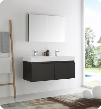 "Fresca Mezzo Collection FVN8012 48"" Wall Hung Double Sink Modern Bathroom Vanity with Medicine Cabinet, Blum TANDEM Plus BLUMOTION Drawer System and Integrated Acrylic Countertop & Sink in"