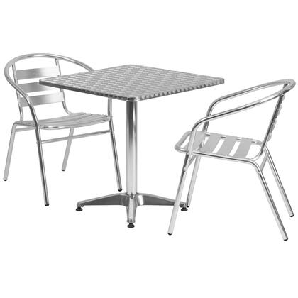 Flash Furniture TLH-ALUM-28SQ-017BCHR-GG 27.5'' Square Aluminum Indoor-Outdoor Table with Slat Back Chairs
