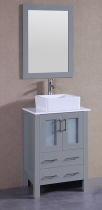 "Bosconi AGR124CBEPSX XX"" Single Vanity with Phoenix Stone Top, Square White Ceramic Vessel Sink, F-S02 Faucet, Mirror, 2 Doors and X Drawers in Grey"