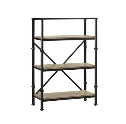 """Turnkey Products Durham LB-DUR-BSXX XX"""" Tall X-Shelf Bookcase with Steel Frame, Open Design and Embossed Parchment Veneers for Easy Cleaning in Salvage Oak Finish"""