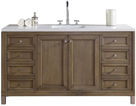 "James Martin Chicago Collection 305-V60S-WWW- 60"" White Washed Walnut Single Vanity with Six Soft Close Drawers, Two Soft Close Doors, Satin Nickel Hardware and"