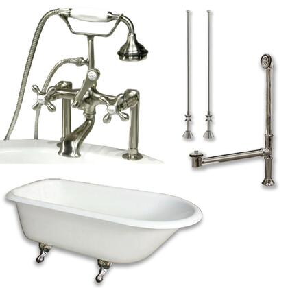 "Cambridge RR61463D6PKGXX7DH Cast Iron Rolled Rim Clawfoot Tub 61"" x 30"" with 7"" Deck Mount Faucet Drillings And British Telephone Style Faucet Complete Plumbing Package with Six"" Deck Mount Risers"