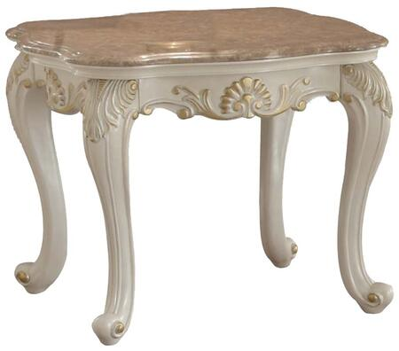 Acme Furniture 8380 Chantelle Rectangular End Table with French Rococo Styling, Cabriole Legs and Carved Decorative Accents in