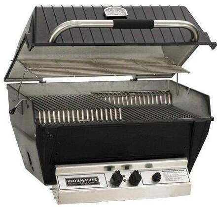 "Broilmaster P3XFx 27"" Premium Series Built-In Grill with 40000 BTUs, 695 sq. inches Grilling Area, 2 Stainless Steel Bowtie Burners, Flare Buster Briquets, in Black"