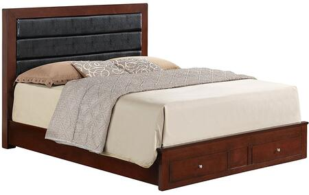 Glory Furniture Panel Bed with 2 Dovetailed Drawers, Metal Knobs and Wood Veneers Construction in Cherry Finish