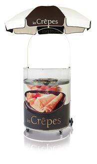 Eurodib K Crepe Carts With Stainless Steel Working Top, Serving Tray and Storage Shelf Inside.
