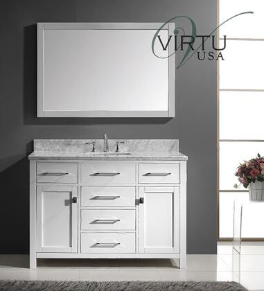 "Virtu USA Caroline MS-2048-WM 48"" Single Sink Bathroom Vanity with Italian Carrara Marble Countertop, Framed Mirror, 2 Doors, 5 Doweled Drawers and Brushed Nickel Hardware in"