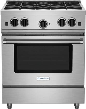 "BlueStar RCS RCS30-IRV1-X 30"" Freestanding Gas Range With 4.6 cu. Ft. Gas Convection Oven, 4 Burners, Adjustable Burner Grates, Lighted Oven Interior, Large Cast Metal Knobs, In Stainless Steel"