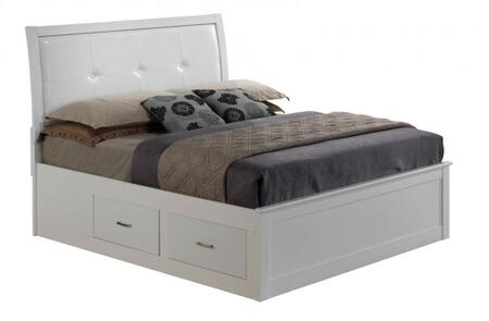 Glory Furniture G1275B Size Bed with 4 Deep Dovetailed Drawers, Painted Wood Veneers, Padded Headboard in White