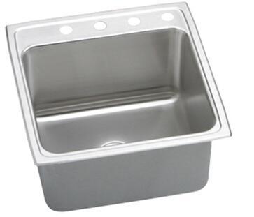 "Elkay DLRQ252210 Gourmet Lustertone Stainless Steel 25"" Single Basin Top Mount Kitchen Sink:"