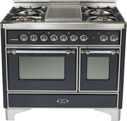 "Ilve UMD100FMPMX 40"" Dual Fuel Freestanding Range with Sealed Burner Cooktop, 2.44 cu. ft. Primary Oven Capacity, in Matte Graphite"