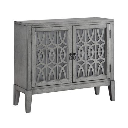 "Coast to Coast 7070X 40"" Cabinet with Two Glass Doors, Geometric Lattice Design and Tapered Legs in"