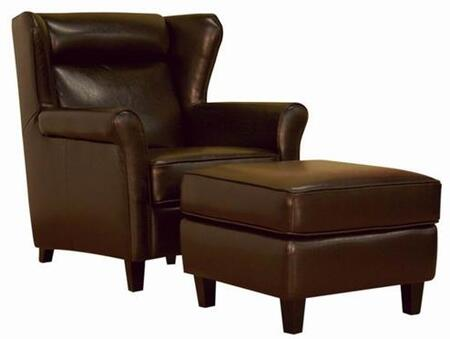 Wholesale Interiors A393CHAIROTTOMAN Contemporary Bi-cast Leather in Dark brown Living Room Set