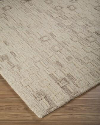 """Milo Italia Scarlet RG417124TM 2 """" x """" Size Rug with High/Low Design, Hand-Tufted, 7-8mm Pile Height and Wool Material Backed with Cotton in Ivory Color"""