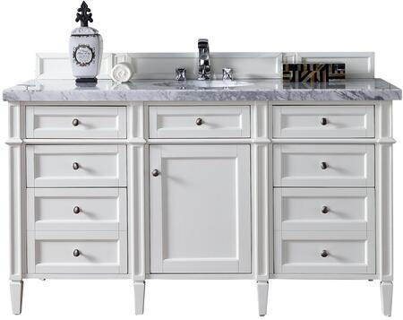 "James Martin Brittany Collection 650-V60S-CWH- 60"" Cottage White Single Vanity with Seven Drawers, One Door, Tapered Legs, Satin Nickel Hardware and"