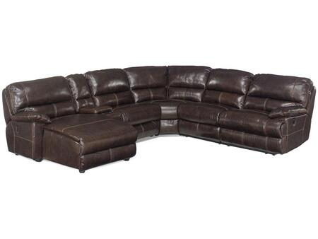 Hooker Furniture SS606-XC-089 Traditional-Style Living Room 6-Piece Sectional with Chaise in Espresso