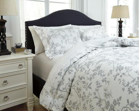 Signature Design by Ashley Florina Q7270 3 PC Queen Size Duvet Cover Set includes 1 Duvet Cover and 2 Standard Shams with Toile Print, 200 Thread Count and Cotton Material in and White Color